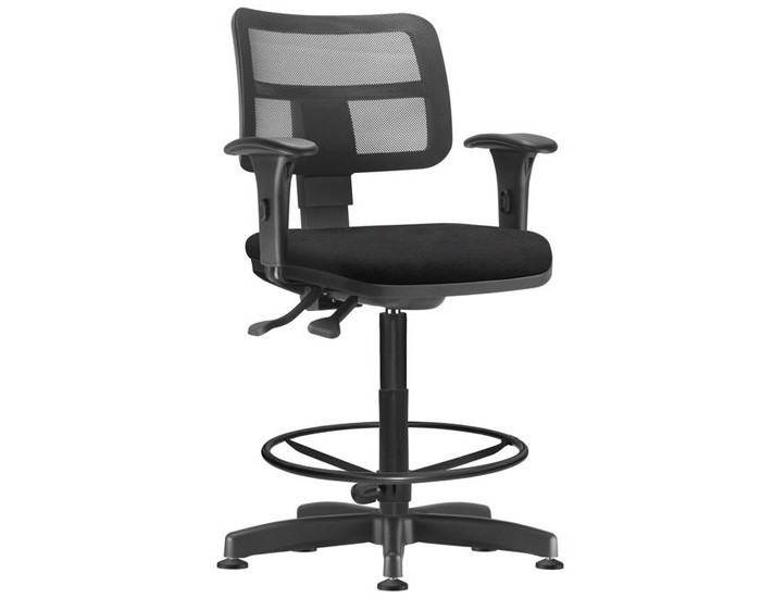 Cadeira Caixa Giratória ZIPCX404 - Com Braço - Mecanismo Evolution - Base Caixa com Aro - Encosto em Tela  - Linha Job  - Frisokar