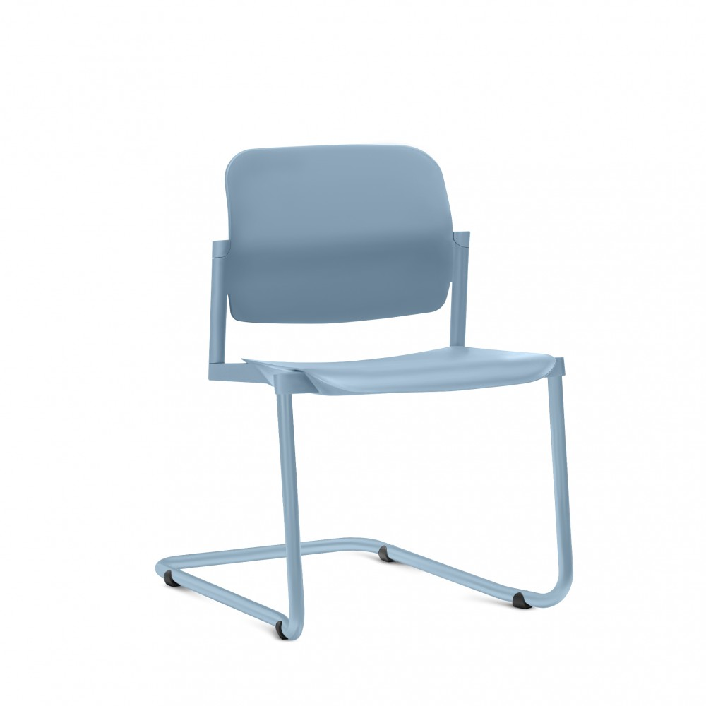 Cadeira em Plástico KLEAF05 -  Estrutura SKL - Linha Leaf - Sem Braço -  Base Colorida - Frisokar