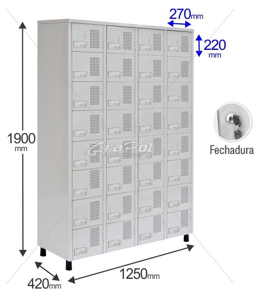 Roupeiro Para Vestiário RGRSP 32 Portas - Com FECHADURA - RCH