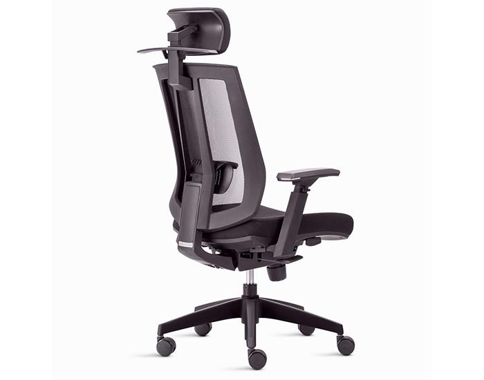 Cadeira Para Escritório Presidente Giratória Song ISON02 - Mecanismo Sincronizado - Base Nylon - Apoio de Cabeça - Apoio Lombar - Linha Song - Com Braço - Frisokar -