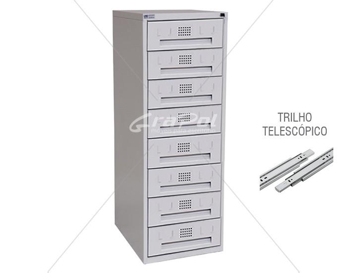 Arquivo de Aço 8 Gavetas para Fichas RAM 8 - TRILHO TELESCÓPICO - RCH - 0,71m Profundidade