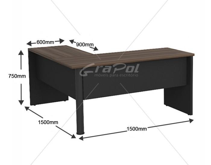 Mesa Angular - Pé Painel - MDP 30mm - 1500mm x 1500mm x 750mm -