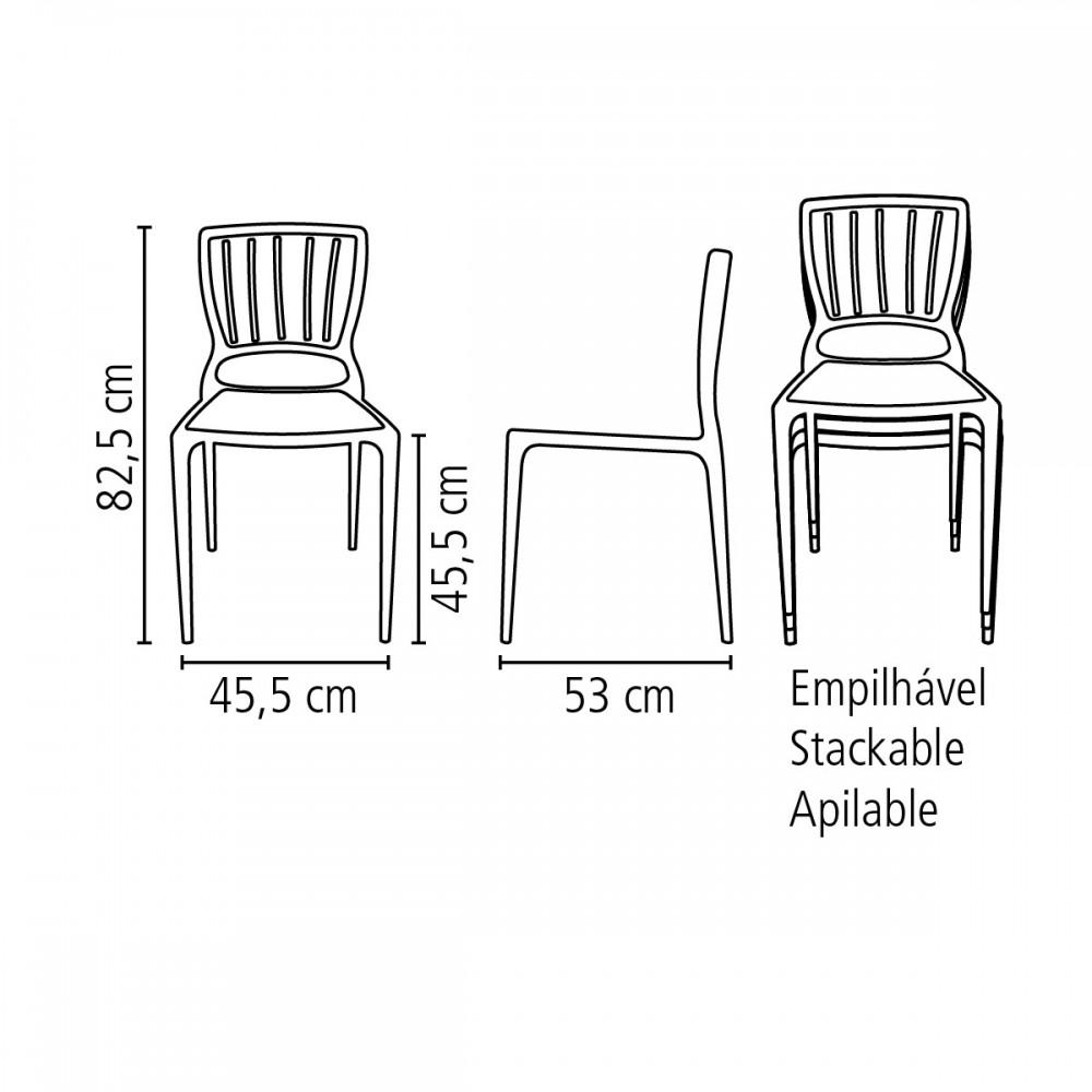 Cadeira Tramontina Sofia sem Braços Encosto Vazado Vertical em Polipropileno e Fibra de Vidro -