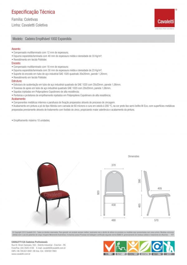 Cadeira para escritório fixa aproximação 1002 -  ESTRUTURA Preta - Linha Coletiva - Cavaletti -