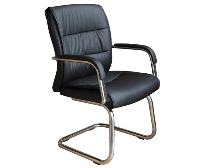 Cadeira Fixa - Revestida em Couro PU - Base Cromada - Com Braço - Pelegrin
