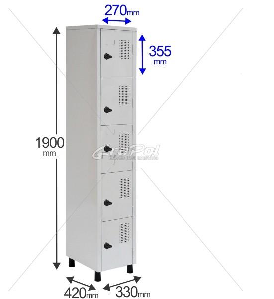Roupeiro Para Vestiário RGRSP-2/5 5 Portas - Com Fecho Porta-Cadeado - RCH
