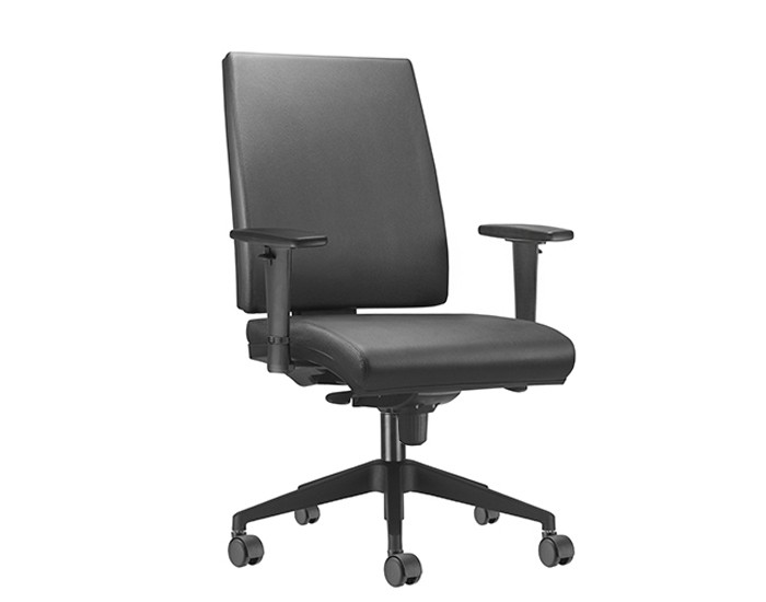 Cadeira para Escritório Presidente Giratória SIM031 - Mecanismo Sincron - Base Nylon Preta - Com Braço PU - Rodízio PP - Linha Simple - Frisokar