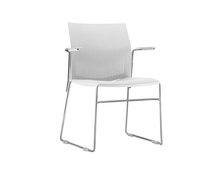 Cadeira Fixa CON007 - Base Fixa Cromada - Linha Connect Coletiva - Com Braço - Frisokar