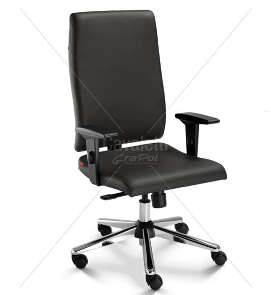 Cadeira para escritório giratória presidente 18001 - Syncron - Linha Slim - Braço SL - Cavaletti - Base Estampada Cromada