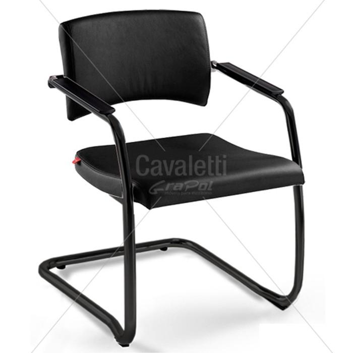Cadeira para escritório fixa aproximação 18007 S -  ESTRUTURA PRETA - Linha Slim - Cavaletti