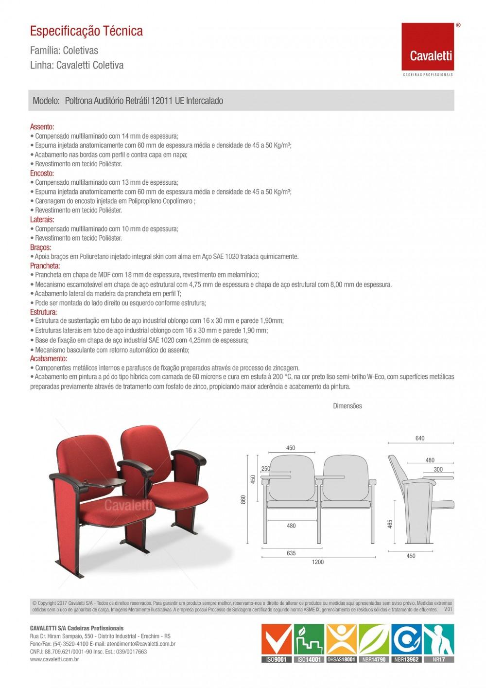 Poltrona Auditório 12011 Retrátil - Braço Intercalado - Prancheta Melamínico -  Linha Coletiva - Cavaletti -