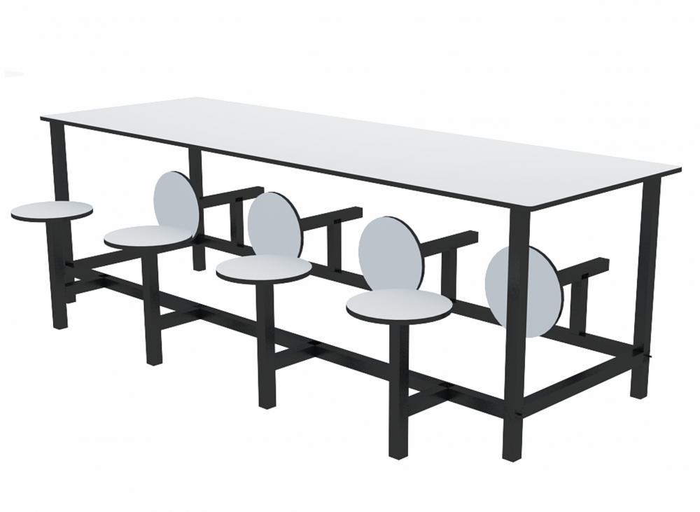 Mesa para refeitório com banco escamoteável 8 lug. MDF 18mm - Dellus