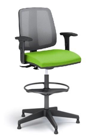 Cadeira Giratória Stool 43122 SRE, Aranha Nylon, c/ Sapata, Encosto em Tela, Braço SL,