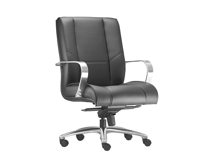 Cadeira para Escritório Diretor Giratória KONI007- Mecanismo Sincron - Base Semi-Arcada em Alumínio-  Com Braço - Linha New Onix - Frisokar