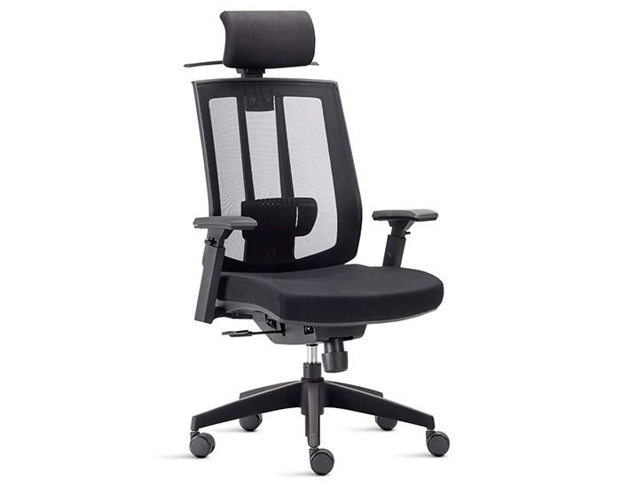Cadeira Para Escritório Presidente Giratória ISON02 - Mecanismo Sincronizado - Base Nylon - Apoio de Cabeça - Apoio Lombar - Linha Song - Com Braço - Frisokar