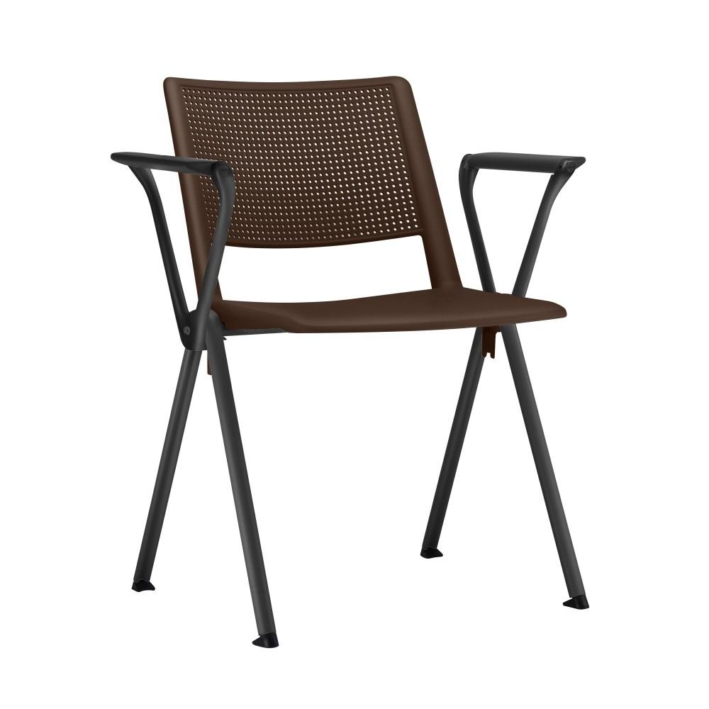 Cadeira Fixa YUP5 - Base Fixa Preta - Linha Up Fixa - Com Braço - Frisokar