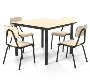 Conjunto de mesa juvenil (6 à 10 anos) - 1 mesa + 4 cadeiras - Branco ou Bege - Dellus