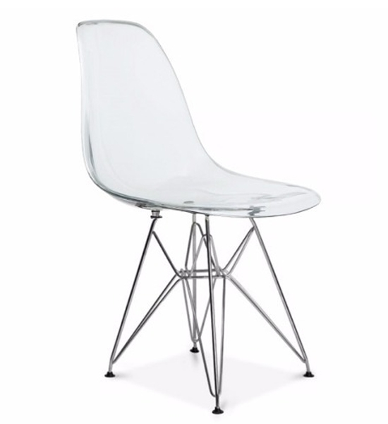 Cadeira Eiffel Eames - Policarbonato Transparente -  Estrutura Cromada