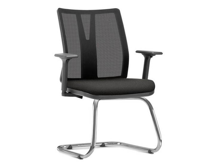 Cadeira Fixa KADD79 -  Base Fixa Diretor Cromada - Linha Addit - Com Braço - Frisokar