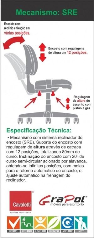 Cadeira COSTUREIRA Giratória Executiva 4103 SRE - Linha Start - Cavaletti - Base Polaina com Sapata -