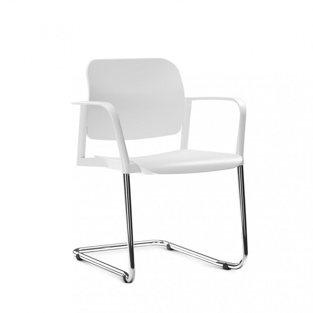 Cadeira em Plástico KLEAF18 -  Base SKL - Linha Leaf - Com Braço -  Base Cromada - Frisokar