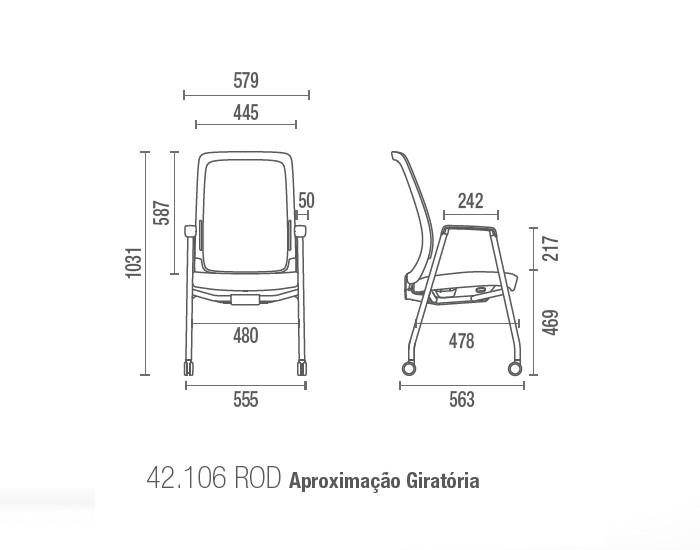 Cadeira para escritório Aproximação Giratória 42106 P - Linha Vélo - Cavaletti -