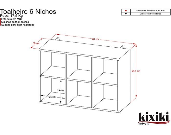 Toalheiro - 6 Nichos - MDF - Kixiki Móveis -