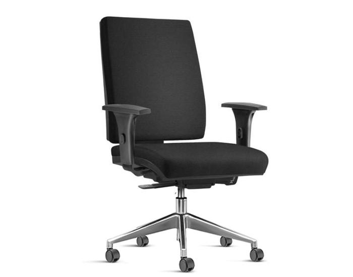 Cadeira para Escritório Presidente Giratória SIM078 - Mecanismo Sincron - Base Alumínio - Com Braço - Rodízio PP - Linha Simple - Frisokar