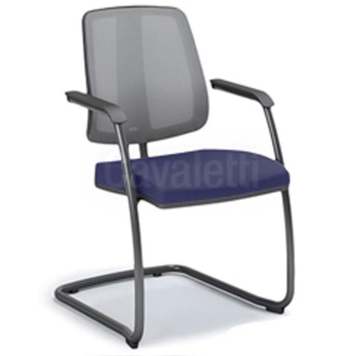 Cadeira para escritório fixa aproximação 43106 SI - Braço Integrado - ESTRUTURA PRETA - Linha FLIP - Cavaletti
