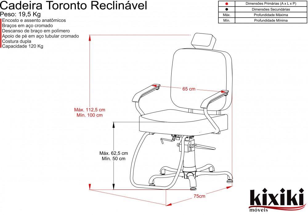 Cadeira Toronto - Encosto Reclinável - Com Cabeçote - Kixiki Móveis -