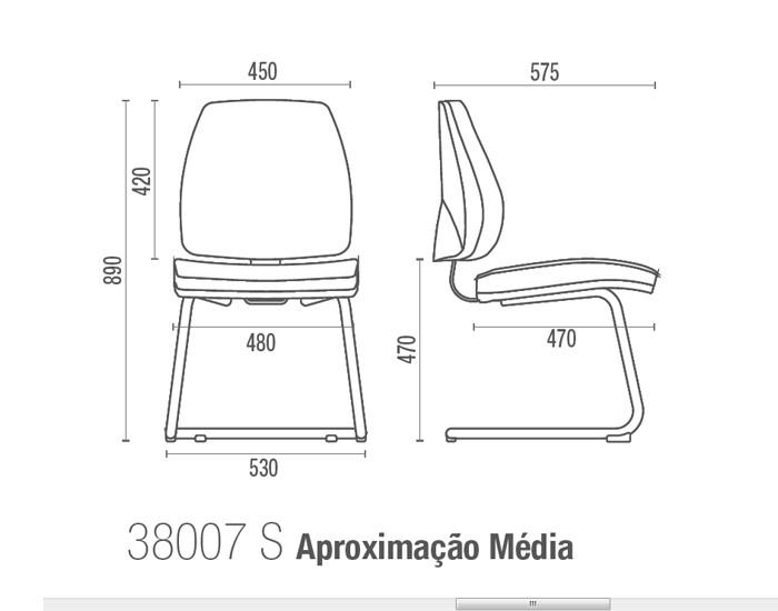 Cadeira para escritório fixa aproximação 38007 - Sem Braço -  ESTRUTURA PRETA - Linha Pro - Cavaletti -