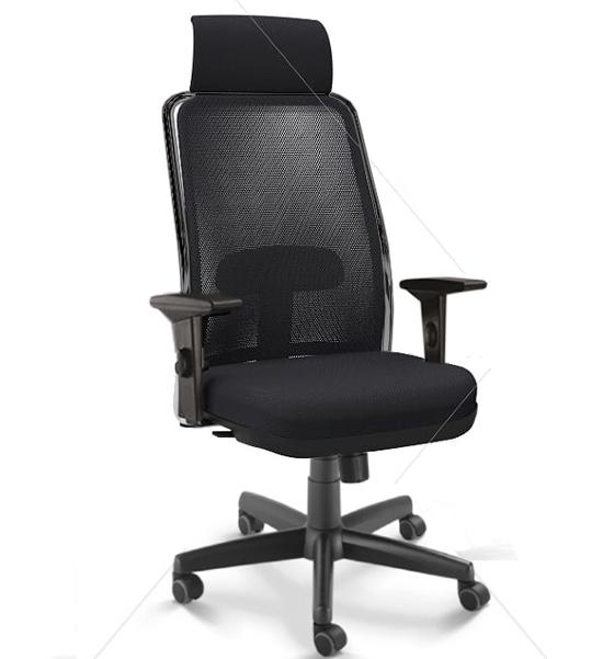 Cadeira para escritório giratória presidente 16001 AC - Syncron (LR) - Linha NewNet - Braço SL - Cavaletti - Base Polaina