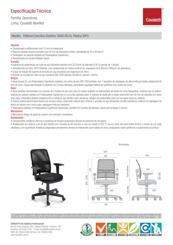 Cadeira para escritório executiva giratória 16003 SRE - Aranha com Polaina - Linha NewNet - Braço SL - Cavaletti - Base Polaina -