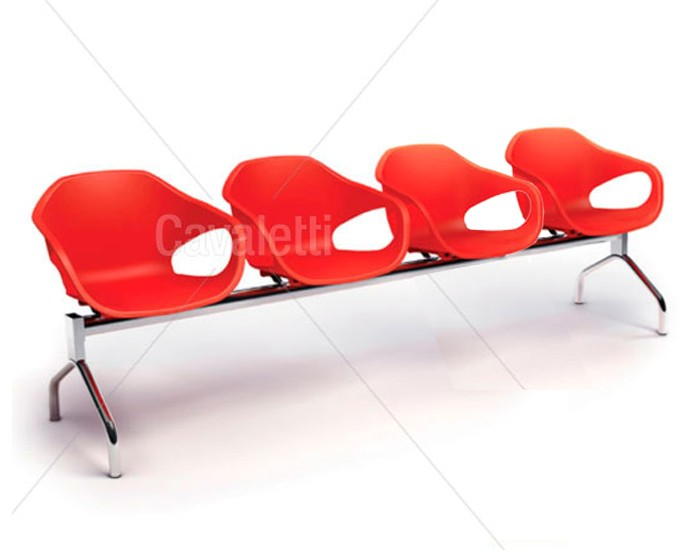 Conjunto Cadeira Auditório longarina 33110 4L - ESTRUTURA CROMADA -  Linha Stay - Cavaletti