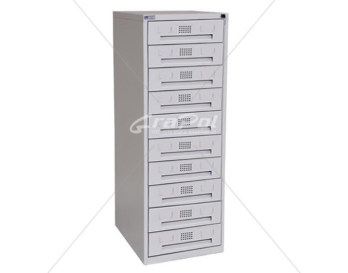 Arquivo de Aço 10 Gavetas para Fichas RAM 10 - CORREDIÇAS DE NYLON - RCH - 0,71m Profundidade