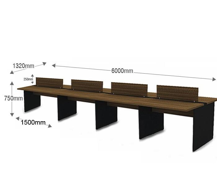 Plataforma de Trabalho com Total de 8 Lugares. 4 Lugares + 4 Lugares Frente a Frente - 6000mm X 1320mm X 750mm - 25mm