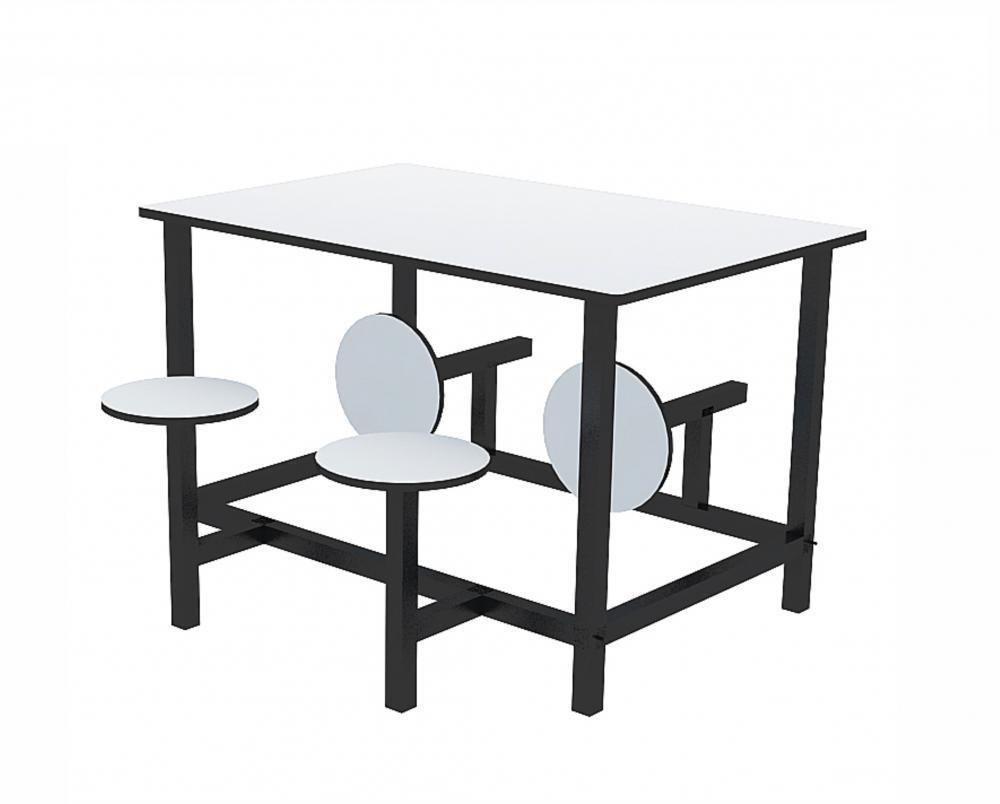 Mesa para refeitório com banco escamoteável adulto 4 lug. MDF 15mm - Dellus