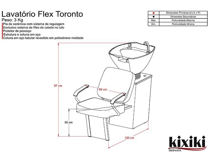 Lavatório Flex Toronto - Cuba de Cerâmica - Sem Aquecedor - Kixiki Móveis -