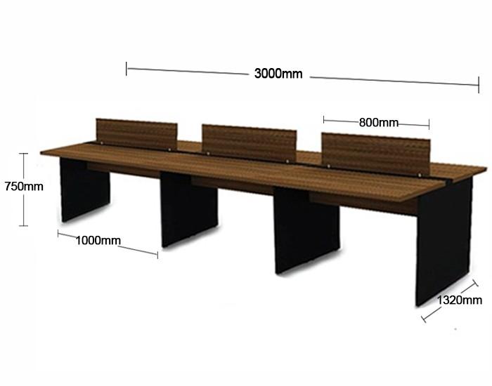 Plataforma de Trabalho com Total de 6 Lugares. 3 Lugares + 3 Lugares Frente a Frente - 3000mm X 1320mm X 750mm -Tampo em MDP 40mm