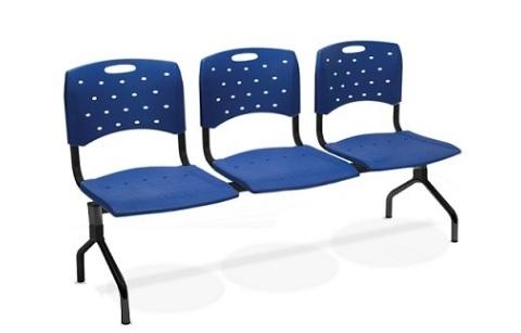 Conjunto Cadeira Auditório longarina 35010 3L - ESTRUTURA PRETA -  Linha Viva - Cavaletti