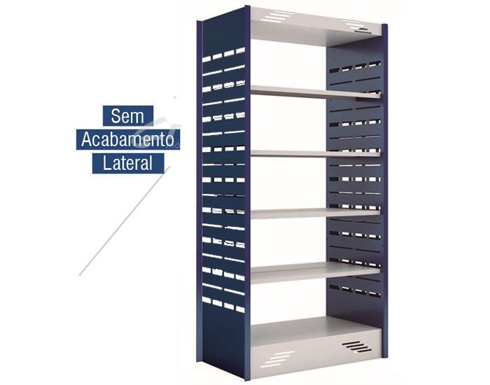 Estante Dupla Face para Biblioteca -  W-teca -  c/ 4 Prateleira + Base 2000X1000X580mm