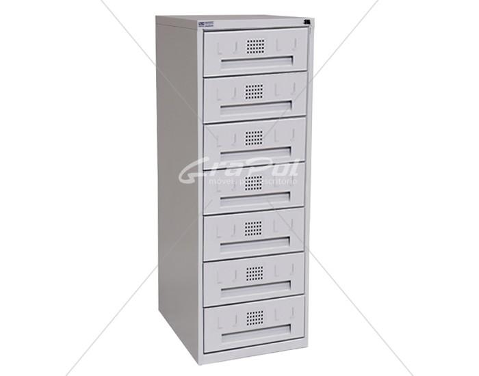 Arquivo de Aço 7 Gavetas para Fichas RAM 7 - CORREDIÇAS DE NYLON - RCH - 0,71m Profundidade