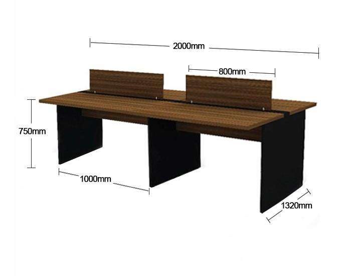Plataforma de Trabalho com Total de 4 Lugares. 2 Lugar + 2 Lugar Frente a Frente - 2000mm X 1320mm X 750mm - Tampo em MDP 40mm