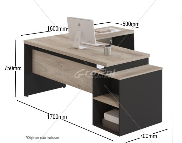 Mesa em L Pedestal Pé Painel - MDP 40mm - 3 Gavetas - 1700mm x 1600mm x 750mm -