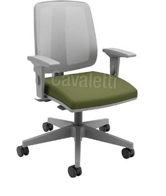 Cadeira para escritório executiva giratória 43103 SRE - Linha Flip - Braço SL - Cavaletti - Aranha Nylon Cinza