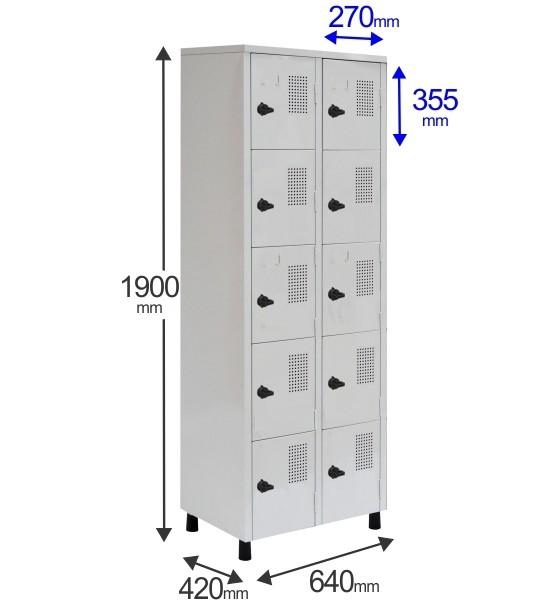 Roupeiro Para Vestiário RGRSP-4/10 10 Portas - Com Fecho Porta-Cadeado - RCH