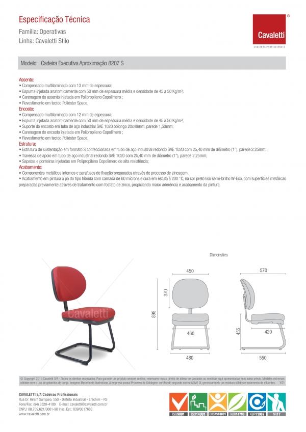 Cadeira para escritório fixa aproximação  8207 S - Linha Stilo - Cavaletti -