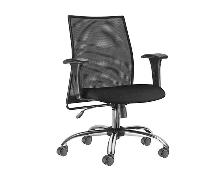 Cadeira Para Escritório Diretor Giratória LIS104 - Mecanismo Relax - Encosto em Tela - Base Cromada- Linha LISS - Com Braço PP - Frisokar
