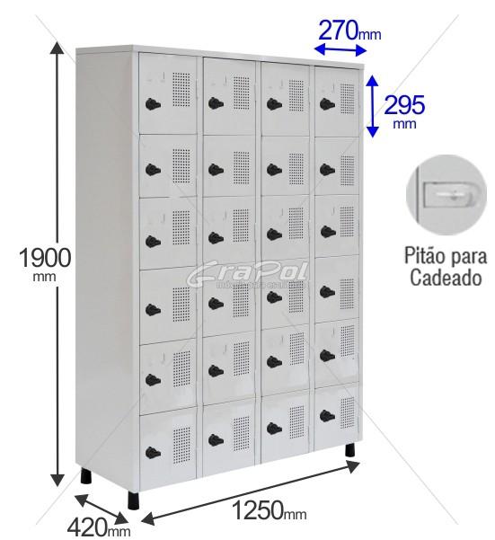 Roupeiro Para Vestiário RGRSP 24 Portas - Com Fecho Porta-Cadeado - RCH