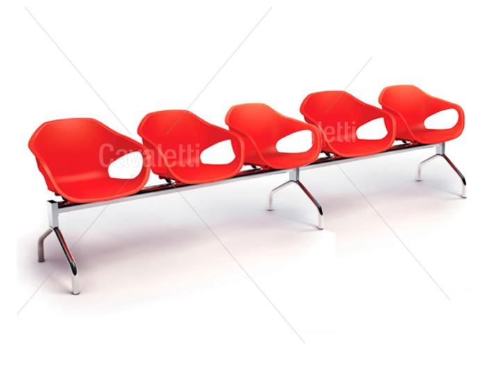 Conjunto Cadeira Auditório longarina 33110 5L - ESTRUTURA CROMADA -  Linha Stay - Cavaletti